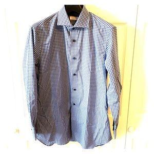 Barney's NWT small plaid men's shirt sz 16 Reg